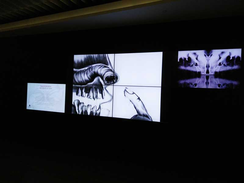 Digital Audio and Visual book at screens near entrance of the Library