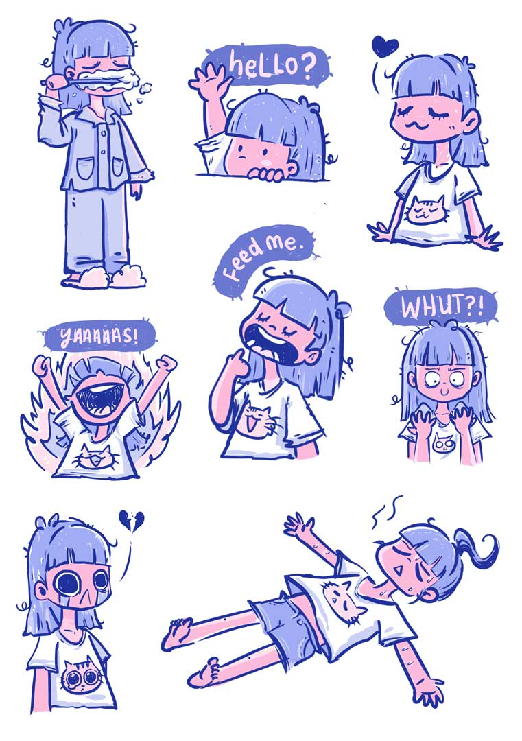Set of 8 sticker expressions available now on  LINE sticker store  :) More slice of life comic  here  and  here.