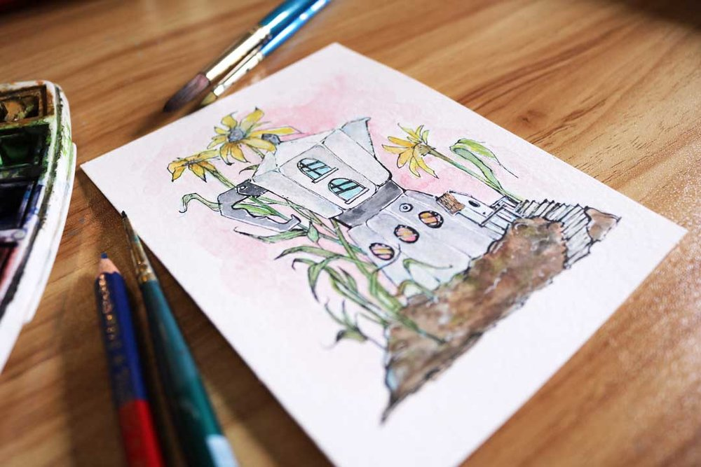 Coffee Pot House Watercolour Illustration