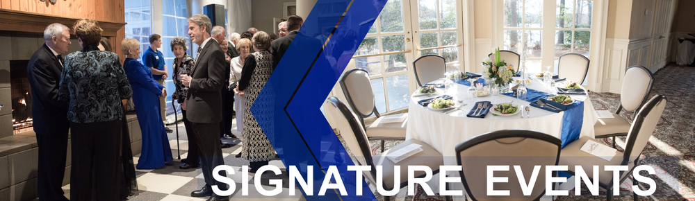 Signature Events page banner features an image of guests dressed in evening attire while attending the Scholarship Gala. Second image shows a table setting for an event hosted by the University of North Georgia.