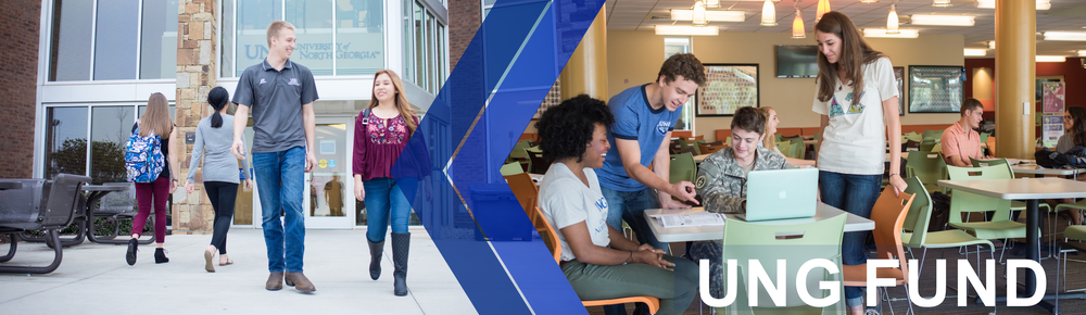 The University-wide (also known as University of North Georgia Fund) page banner features students walking in and out of a building on the University of North Georgia Gainesville campus. Second image shows students working together while they're gathered around a lap top.