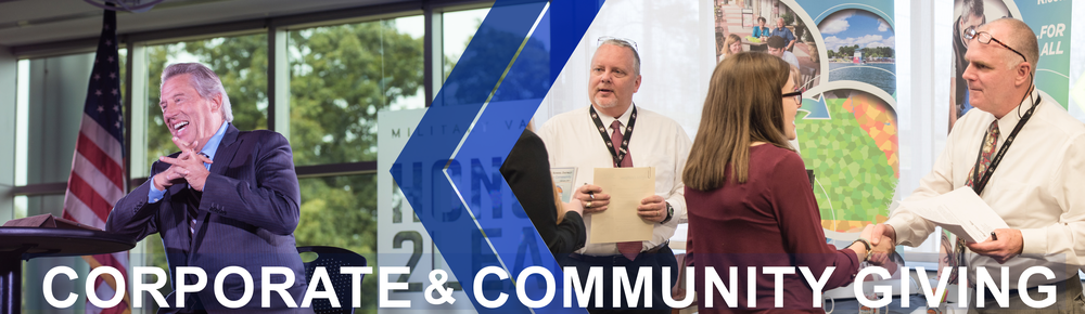 Corporate and Community Giving page banner: Image shows a spokesman at the Honor 2 Lead event hosted by the Corps of Cadets and Mike Cottrell College of Business. Second image shows students introducing themselves during a career fair at the UNG Dahlonega campus.