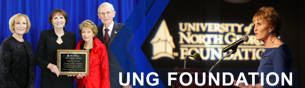 University of North Georgia Foundation page banner: Image shows President Jacobs holding the UNG Summit Award in front of the honorees, Nathaniel and Frances Hansford. The second image shows Mary Helen McGruder speaking at an event hosted by the University of North Georgia Foundation.