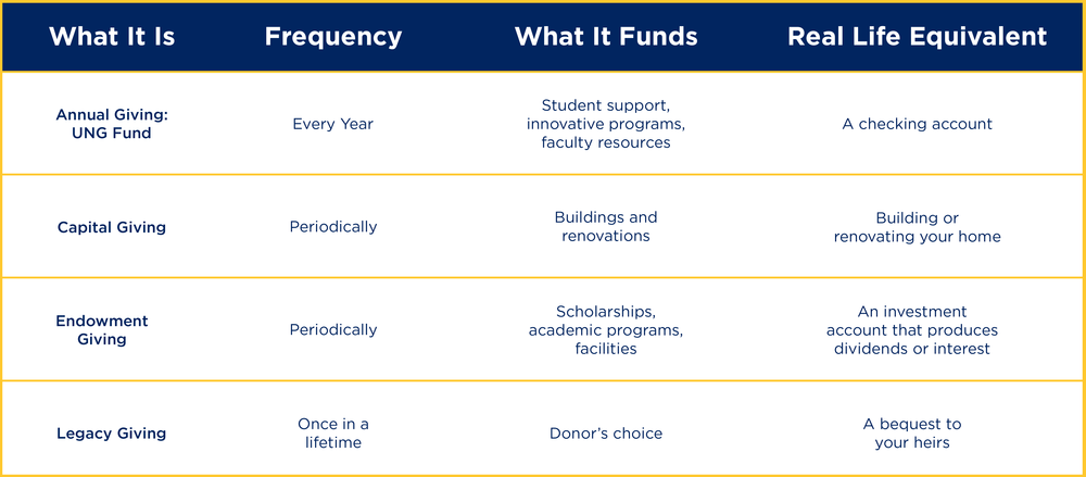 Graphic breaks down what Annual Giving, Capital Giving, Endowment Giving and Legacy Giving are.