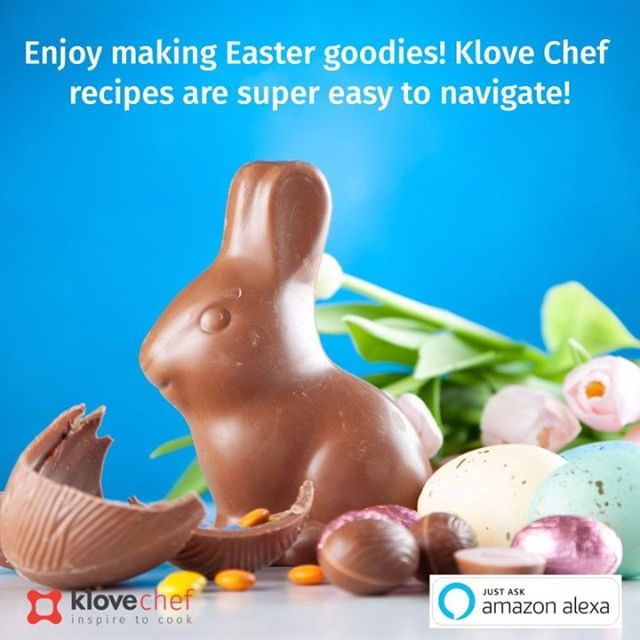 """This year, making your favorite Easter dishes will be a whole lot easier!⠀ ⠀ KloveChef simplifies cooking any recipe by allowing you to go to the next step, go back a step, repeat the ingredients, or continue the recipe, so you can get your dishes right down to the last detail!⠀ ⠀ To get started, just say, """"Hey Alexa, Open KloveChef."""" Also take a look at buff.ly/2JYuYZL to enjoy breezy cooking with KloveChef.⠀ .⠀ .⠀ .⠀ #KloveChef #Alexa #voicefirst #cooking #loveforcooking #CookingAssistant #AmazonEcho #GoogleHome #easycooking #ingredients #recipes #speakablerecipes #easter #easter2019 #easterrecipes #easterfeast #easterfood #easteriscoming"""