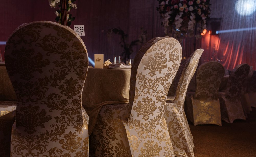 The Colour Palette - The team came to a final design of having blush colours with crystal details, and statement gold printed damask chair covers.