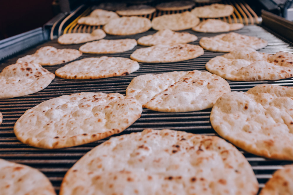 Our Pita bread is baked.