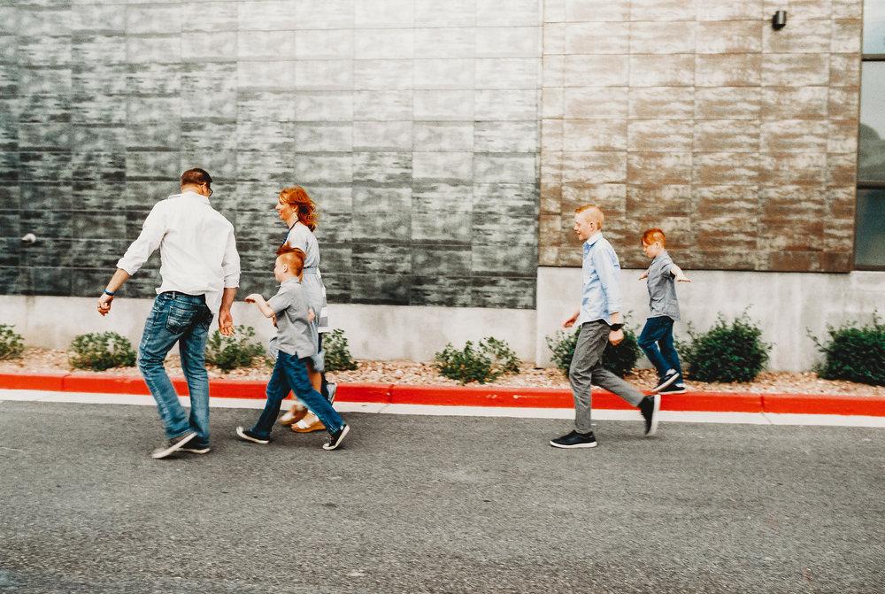 Salt lake city family walking downtown