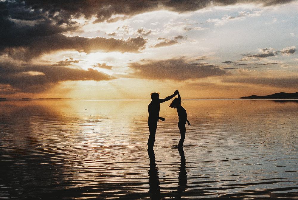 Antelope Island Sunset Couple Dancing