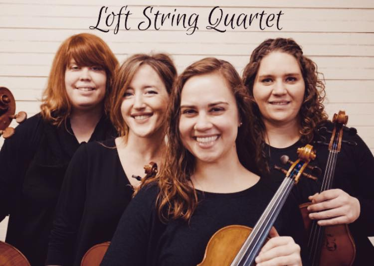Left to right: Kristy Foye, Cello; Katie Cooke, Violin; Sara Weir, Violin; Cassie Sulbaran, Viola