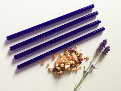 Eco-Friendly Glass Straw Set in Brilliant Blue - Brook Drabot Glass - Canada