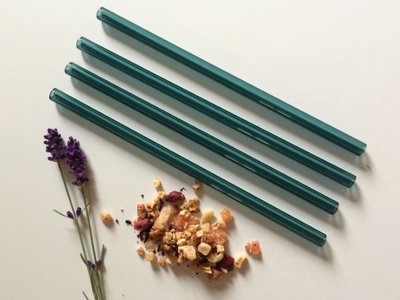 Lake Green Reusable Canadian Glass Straws - Brook Drabot Glass - Manitoba