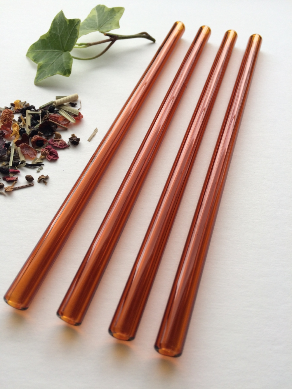 Amber Cocktail Straw Set - Brook Drabot Glass