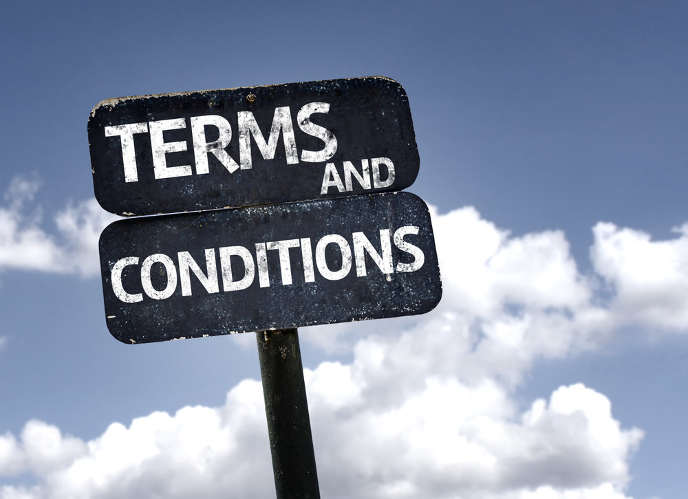 Terms and Conditions sign with clouds and sky background