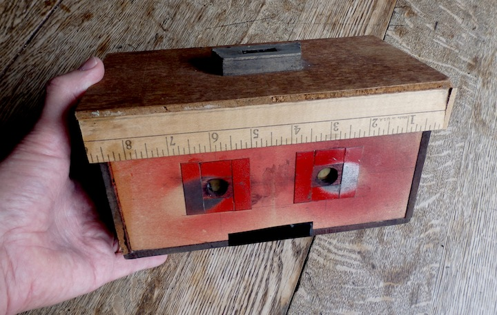 Stereo pinhole camera built by Hal Rammel, 1997.