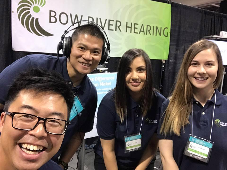 The Bow River Hearing team volunteering their time to spread hearing health education and awareness, at the  Calgary Home Show.