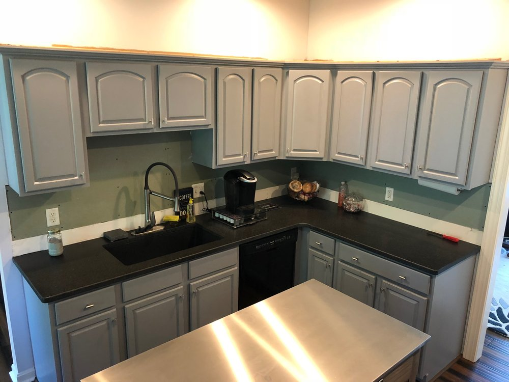 After - Kitchen Cabinets Painted gray in Red Lion Pa