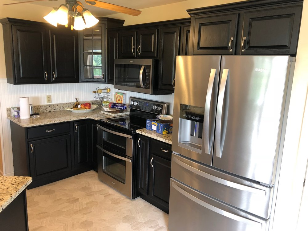 After - Professional Kitchen cabinets painted black in York Pa