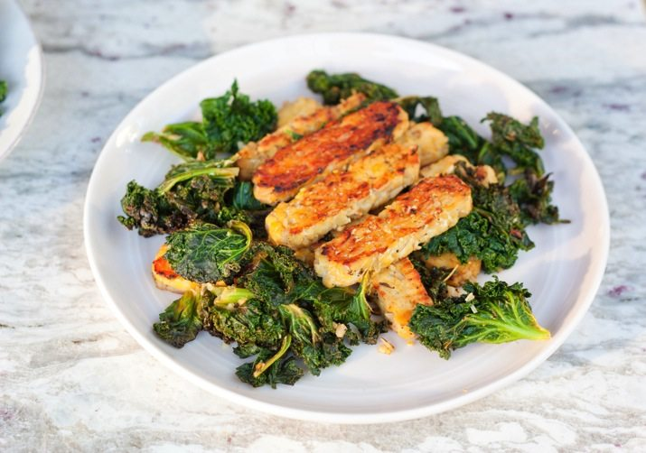 Lemon Garlic Tempeh & Kale - Recipe from: Eating Bird FoodThis is vegan and not whole30. Use sugar-free bacon instead for a whole30 and paleo approved meal.
