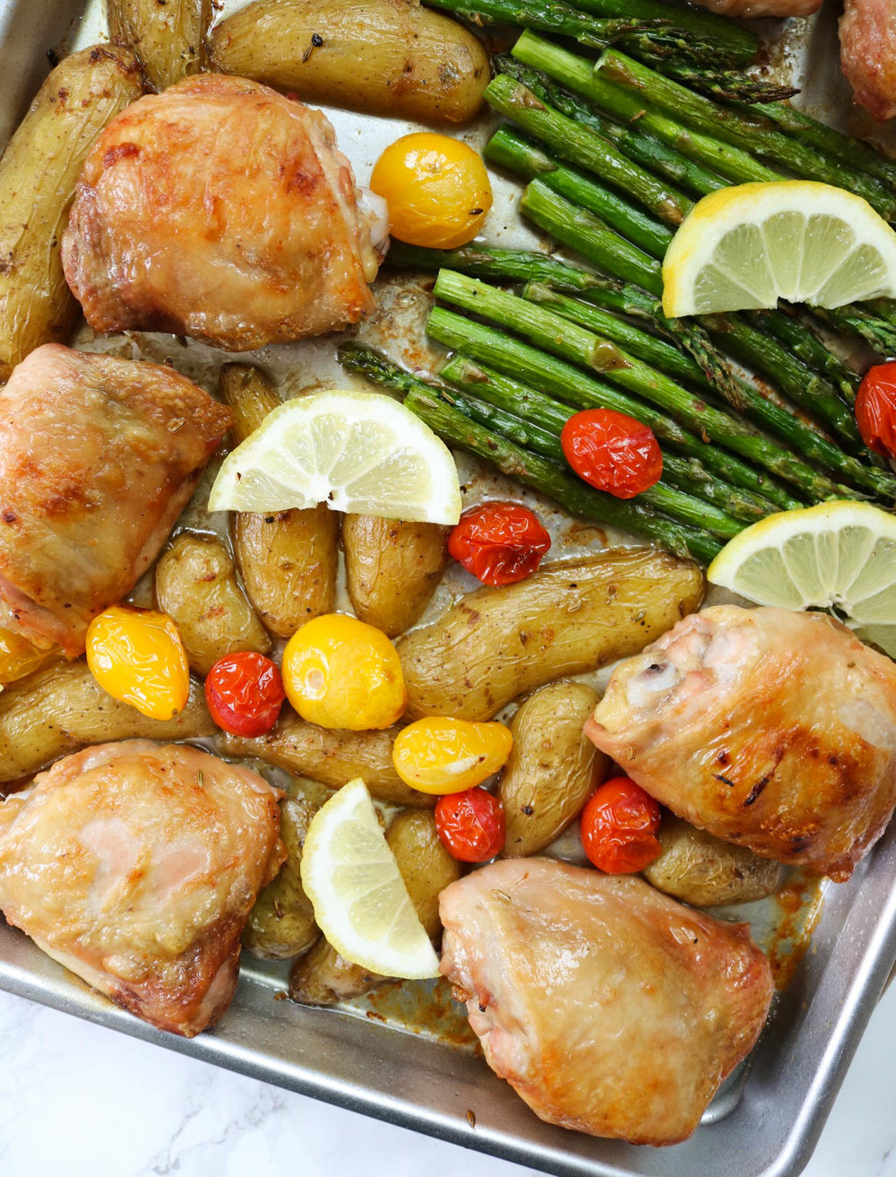 Sheet Pan Chicken with asparagus - Recipe by: From Pasta to PaleoAdd arugula for a salad