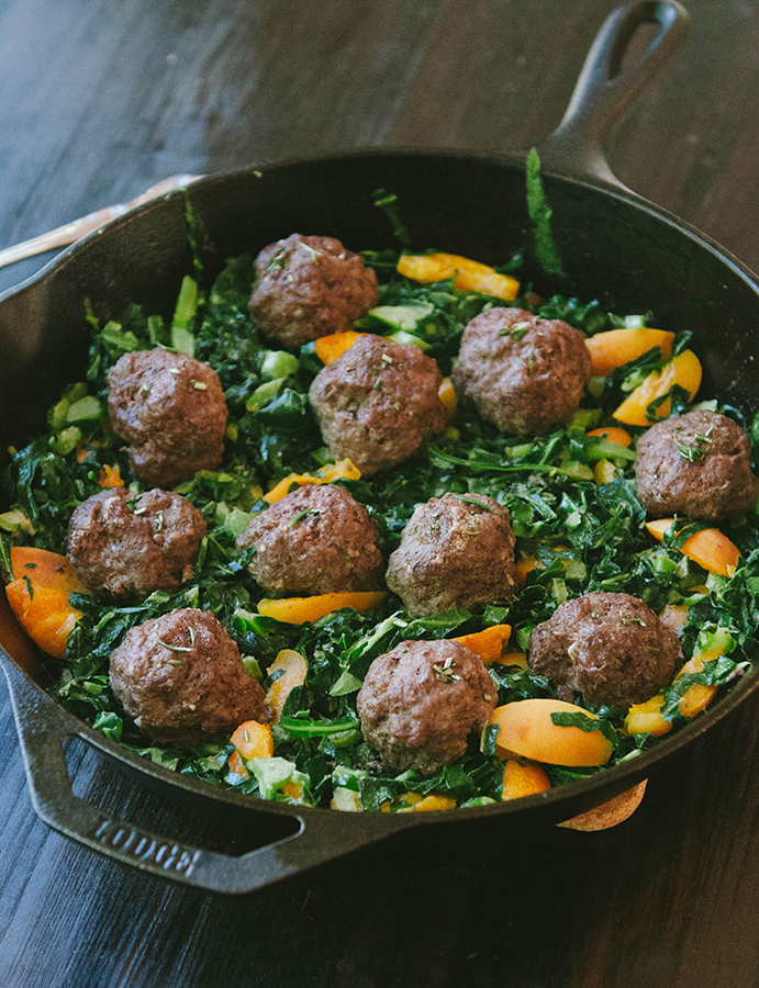 Rosemary Meatballs With Dijon Collard Greens & Apricots - Recipe from: So.. Let's Hang OutThis recipe was made for Whole30 participants! I love the idea of incorporating apricots too