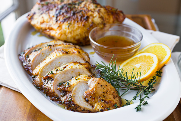 Orange-Honey Glazed Roasted Turkey Breasts - Recipe by: The Cozy ApronUse date paste instead of honey or omit all together.