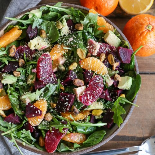 Citrus Roasted Beet Salad  - Recipe By: The Roasted Root Sub flax seeds for hemp hearts for added anti-inflammatory properties Add grilled chicken to this salad for some added protein
