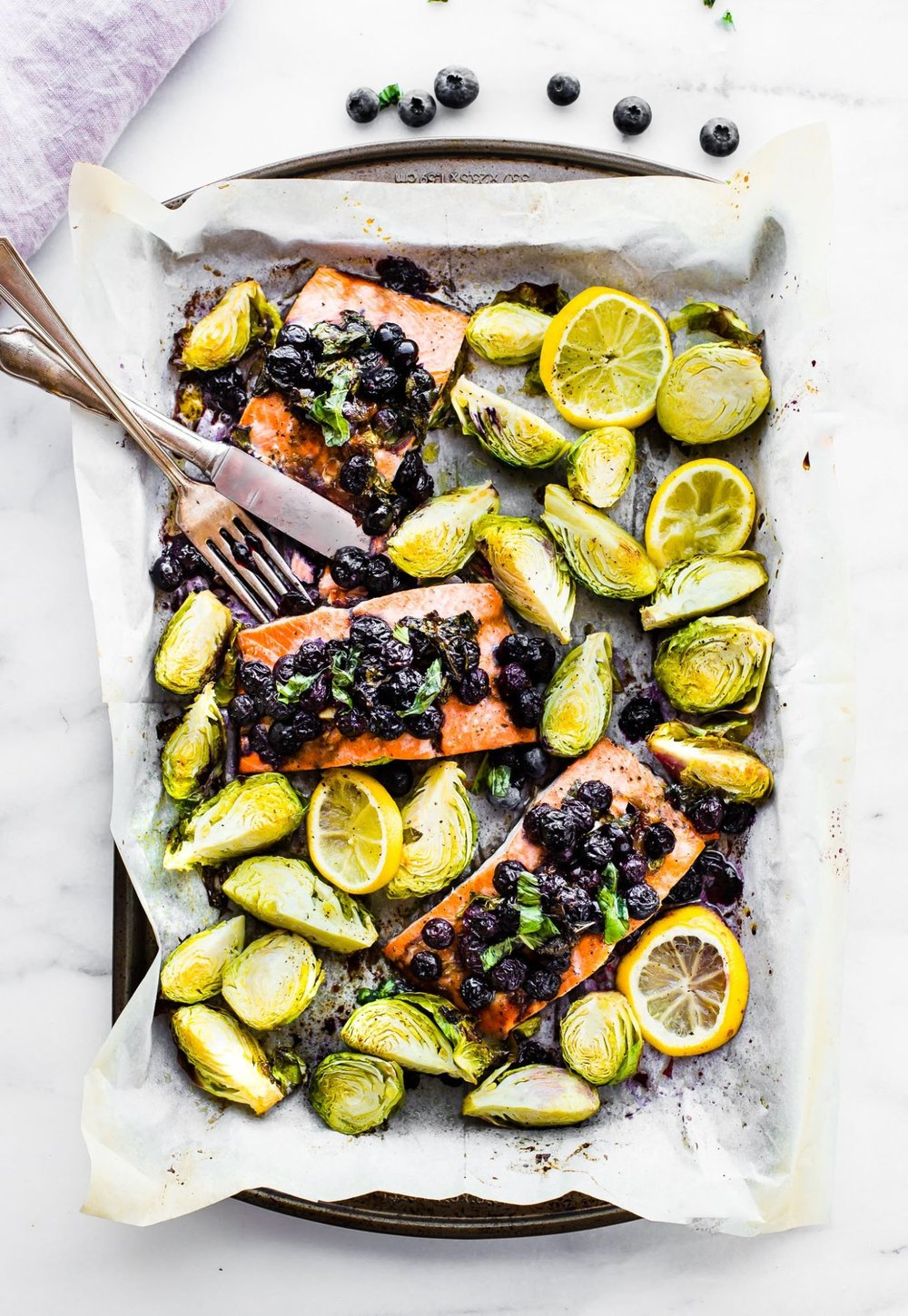blueberry Salmon and brussels  - Recipe by: Cotter Crunch Can use frozen blueberries to save some money