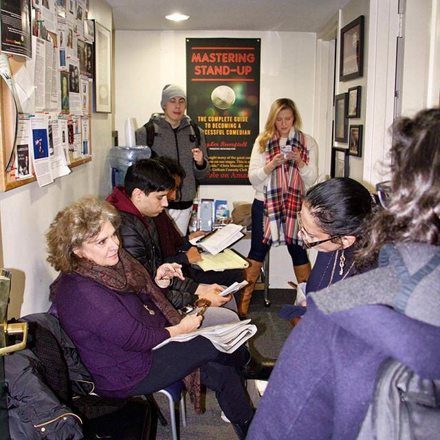 "Today's #waybackwednesday is a shot of a full waiting room of #comedians waiting to get into one of our #standupcomedy #workshop #classes. Steve likes to welcome them with a jovial, ""this way to the egress."""