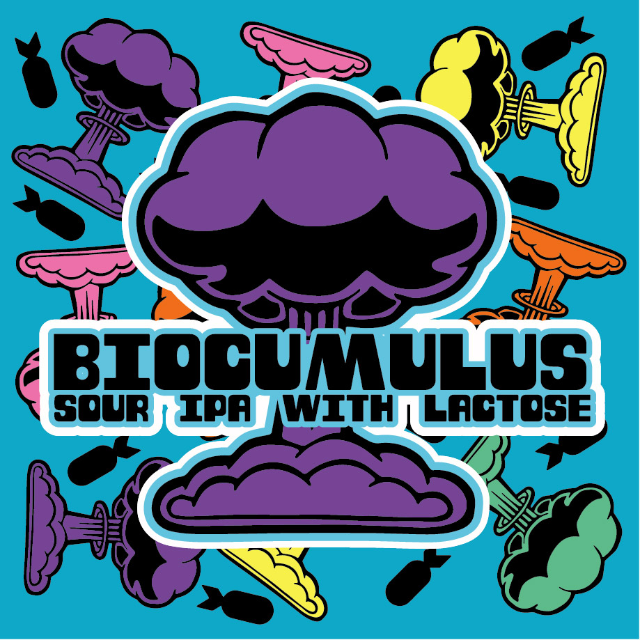 Biocumulus: Sour IPa w/ Lactose - This Sour IPA was whirlpool hopped with Centennial and dry hopped with Cryo-Loral, Cryo-Citra, and Mosaic!No fruit additions, allowing for the hops to truly shine on their own. Together, these hop varietals may give off flavors & aromas of citrus, especially grapefruit and lemon, followed by a backdrop of floral and earthy characters. In true cumulus cloud form, it has a full, fluffy body and smooth, pillowy mouthfeel from the creamy lactose with an overall balanced bitterness.6.4% ABV0 IBU750ml can $8.00 eachNo Limit!