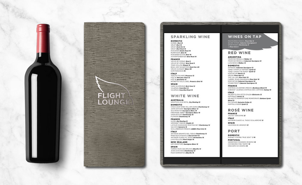 Arizona Cardinals Flight Lounge menu design