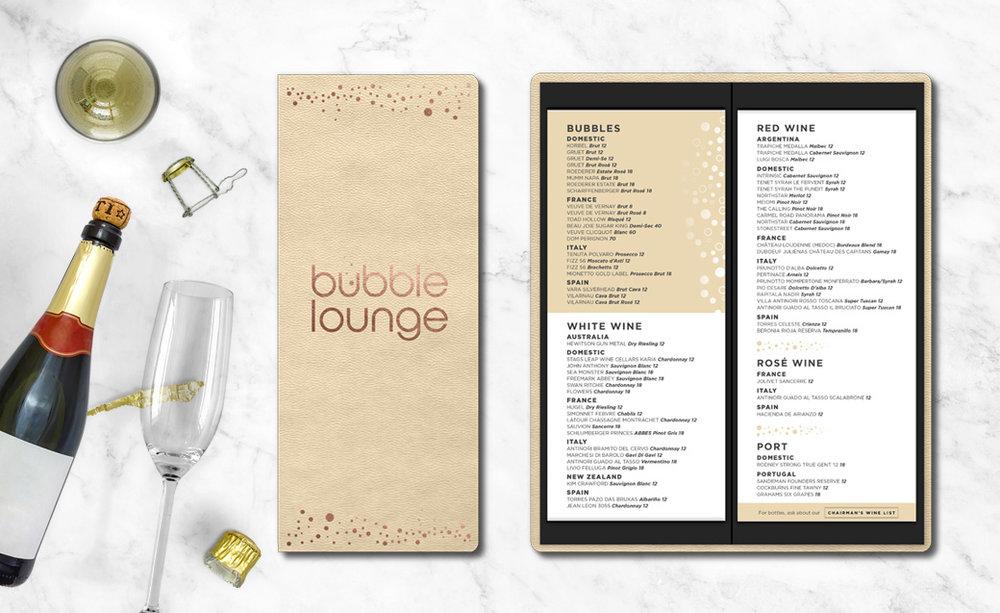 Bubble Lounge Menu Design