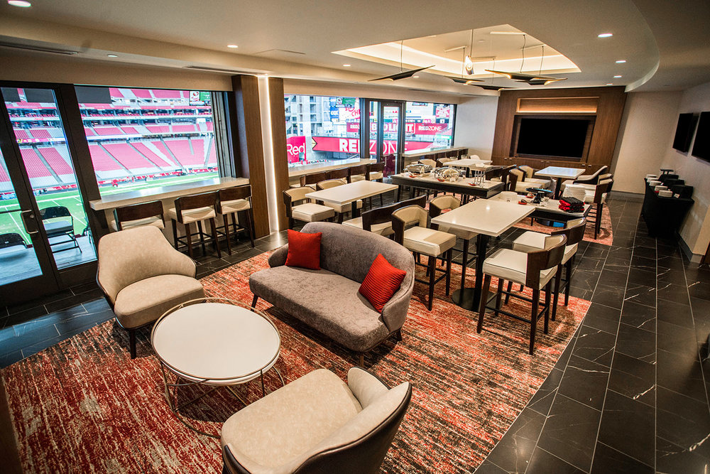 Bar Napkin Productions Arizona Cardinals VIP Club Suite Interior Design