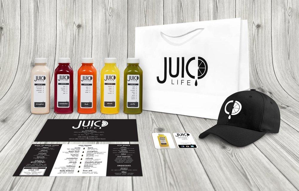 Juic'd life branding and packaging design