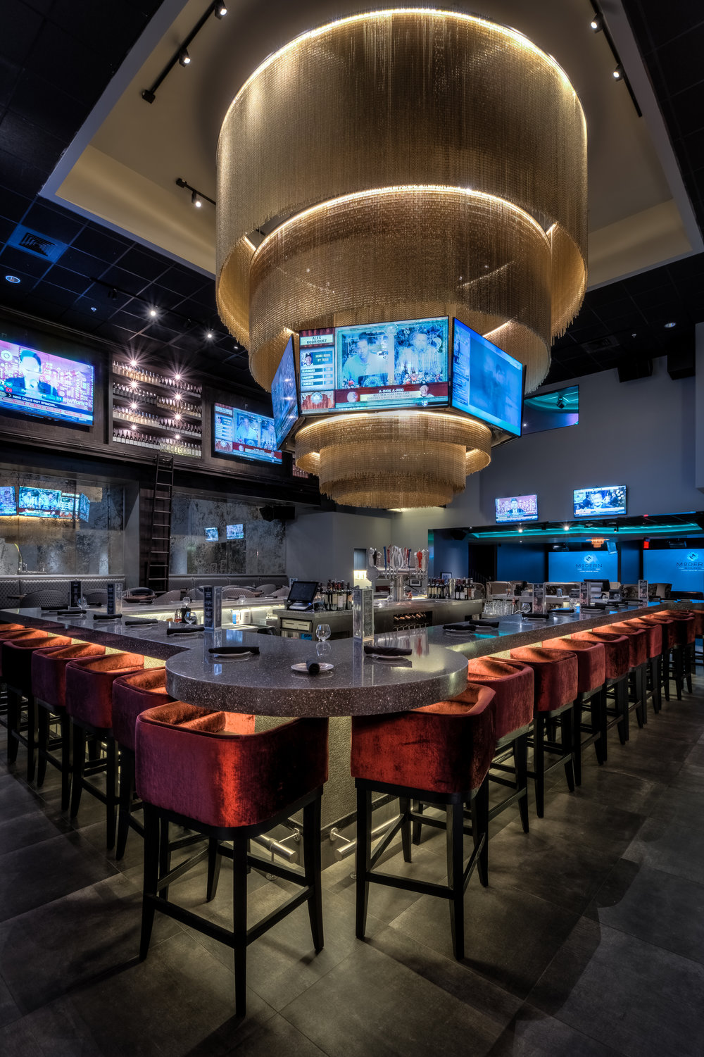Bar Napkin Productions Modern Round Bar Custom Furniture and Lighting