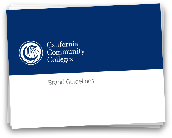 Graphic showing the California Community Colleges brand guidelines document