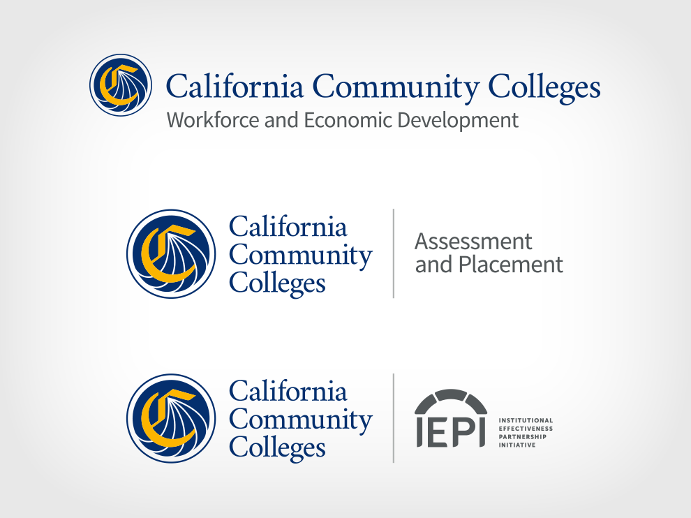 Graphic showing the new California Community Colleges brand architecture system