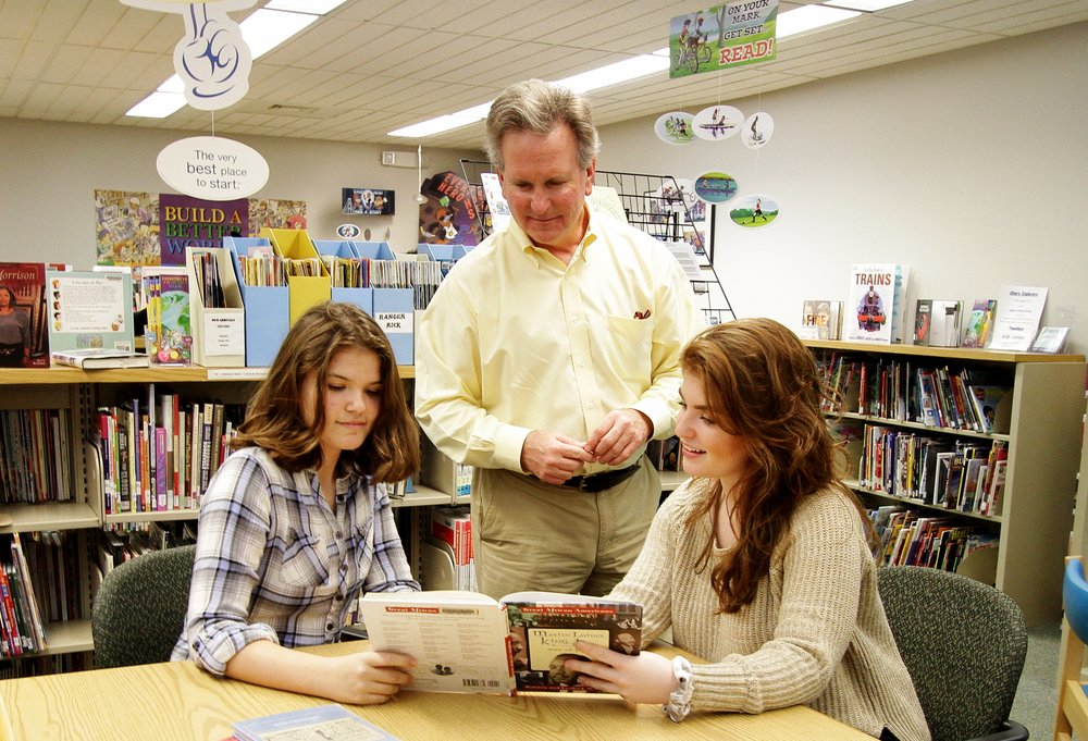 Visiting with local students