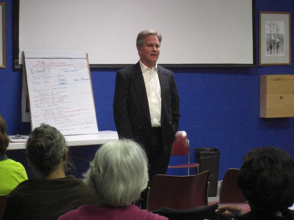 John talks with Democrats at the Burgaw Library