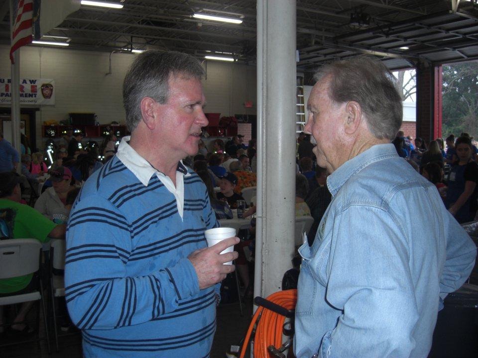 Mayor Pete Cowan, Mayor of Burgaw and John enjoying the pancake breakfast