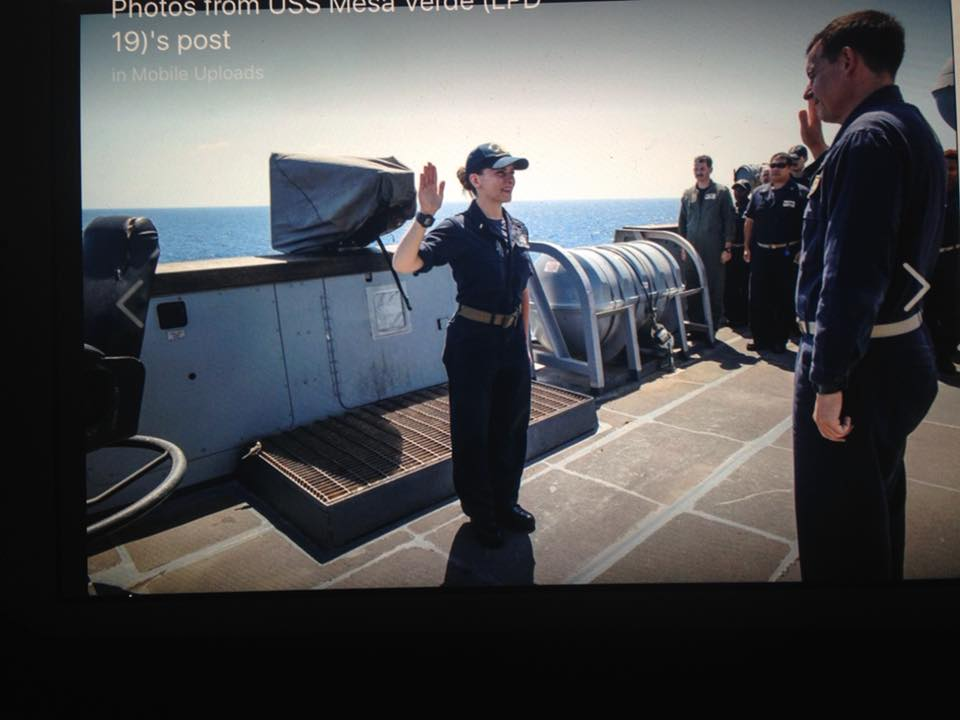 John's daughter, Lauren, being promoted at sea from Ensign to LtJG