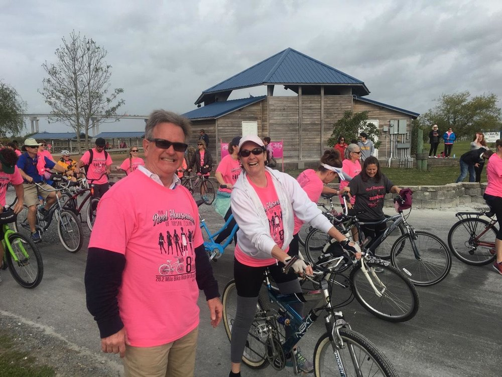 John and constituent before riding off in the Reel Housewives Bike Ride for Breast Cancer, Surf City