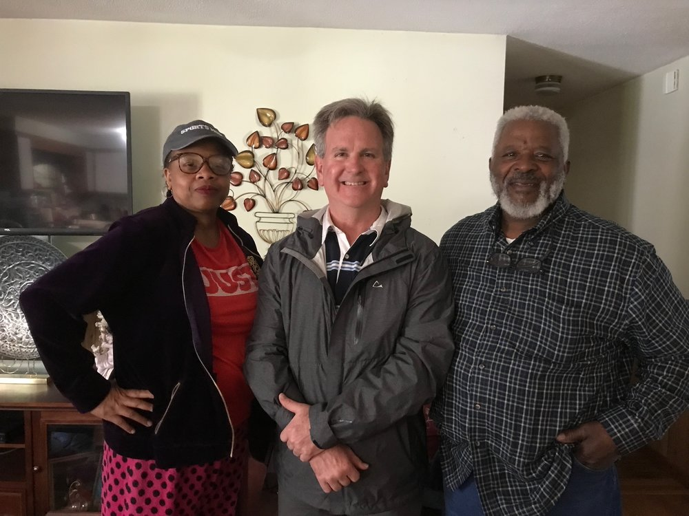John with Proud Democrats, Trianna and Robert Kirkland of Hampstead