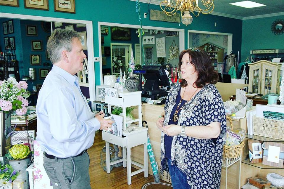 John speaking with Dawn at Southern Emporium in Surf City