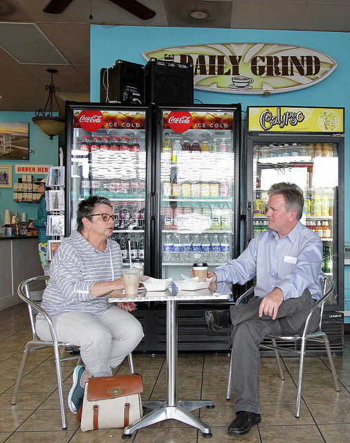 Discussing issues with a citizen about Surf City