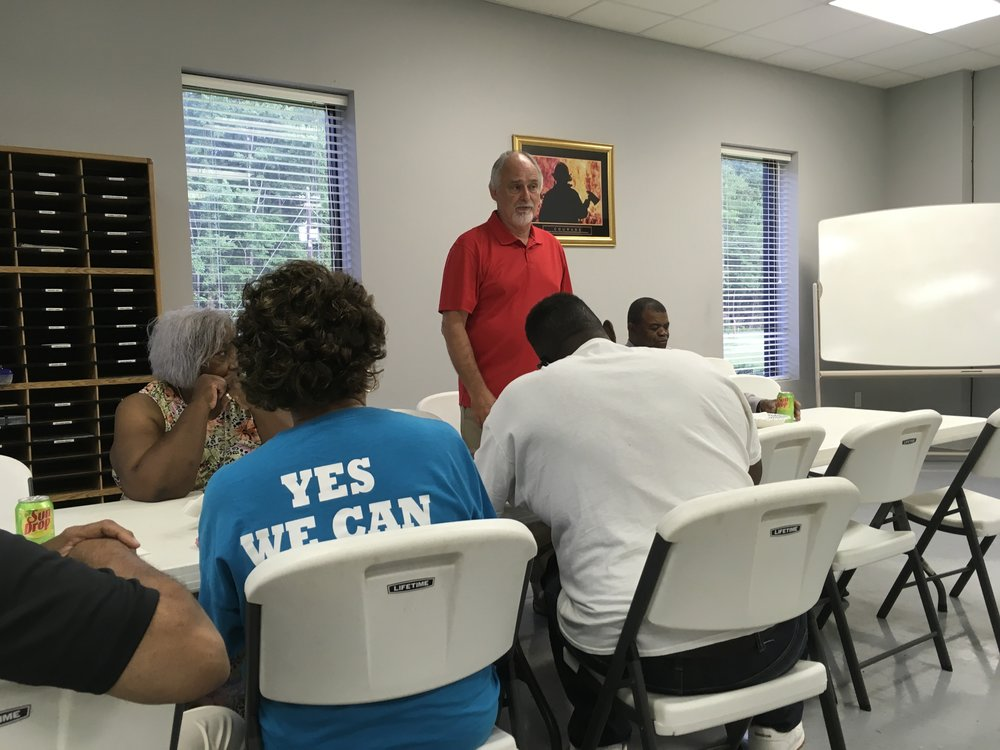 Columbus County Commissioner Charles McDowell speaking at Democratic Party meeting, Nakina Fire Department