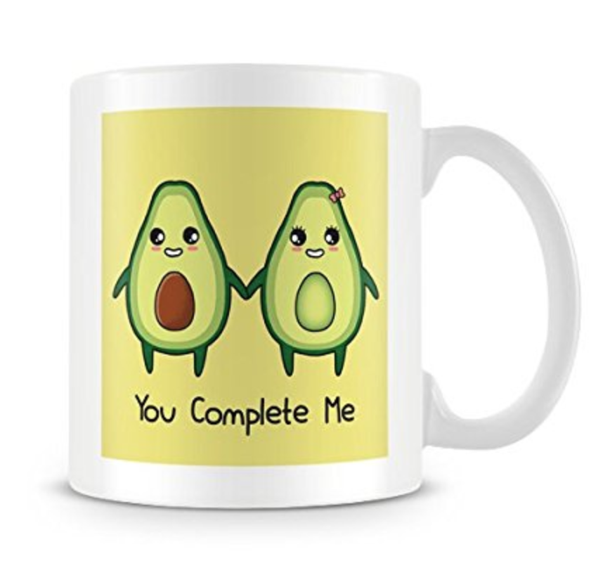 7. you complete me mug - Show your romantic side with this perfect gift. Whether you save it for valentines day or just buy it as a random surprise, your loved one will adore this gift.