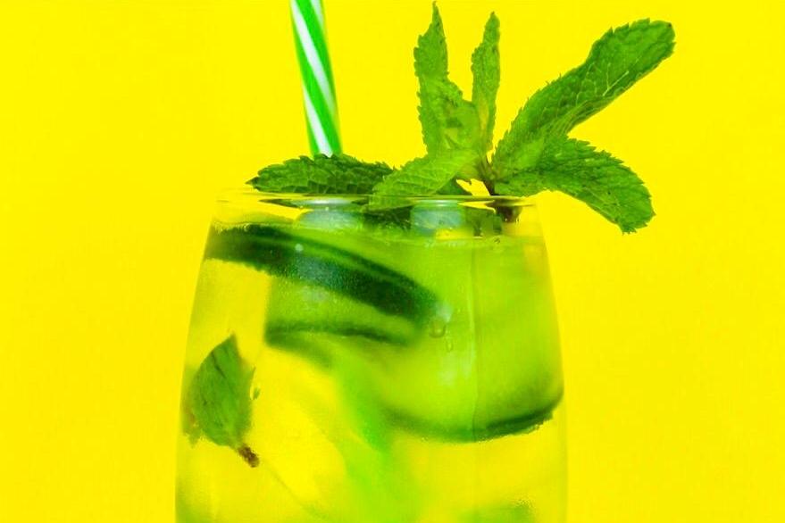 Mint & Cucumber Twist - 100ml Gordon's GinSoda WaterA sprig of mintCucumberLime juiceLime slices