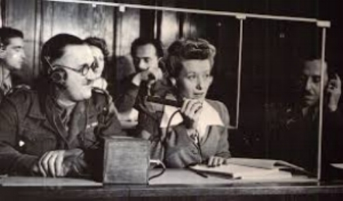 Simultaneous interpretation at the Nuremberg Trial.