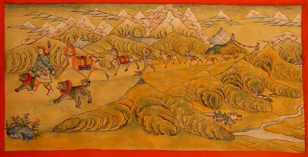 Miniature painting of Horse Caravan Tea Route